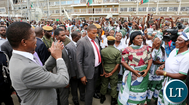 President Lungu at the departure Ceremony at KK international airport when he left for South Africa