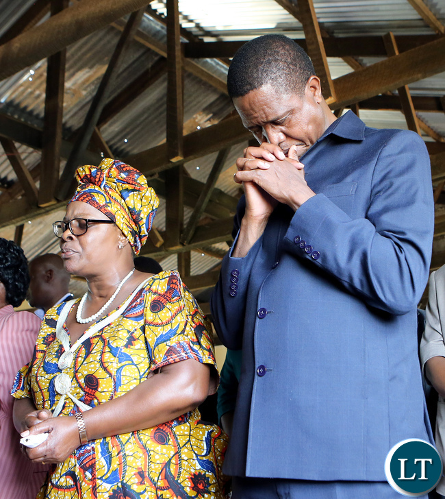 President Edgar Lungu with First Lady Esther Lungu when they attended a Church Service at Statelodge Baptist Church in Lusaka