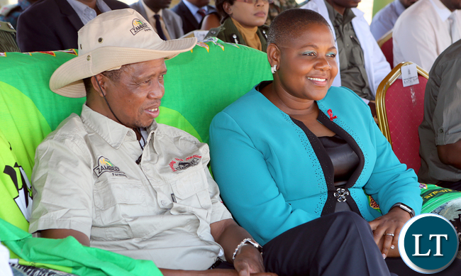 President Lungu with Princess Kasune Zulu UPND MP for Keembe at Chisamba at Hungry Farm at the Launching the 2016/17 planting Season