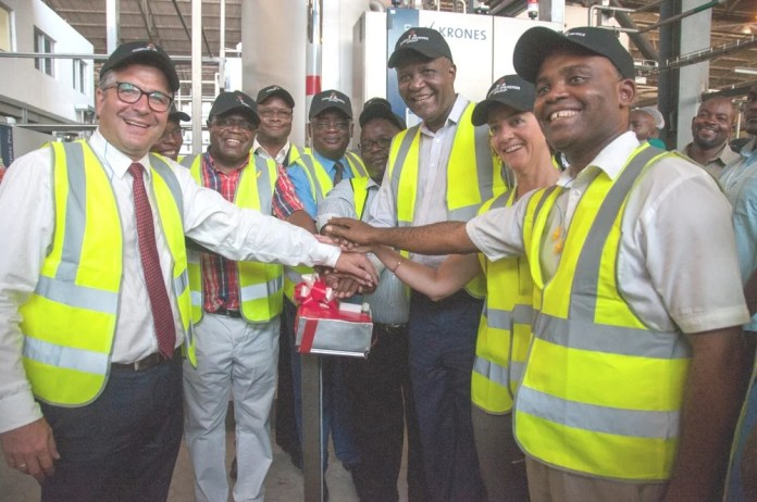 Finance Minister Felix Mutati and Mines Minister Christopher Yaluma during a tour of the Zambian Breweries plant in Ndola, accompanied by managing director Annabelle Degroot, technical director Franz Schepping and corporate affairs director Ezekiel Sekele.