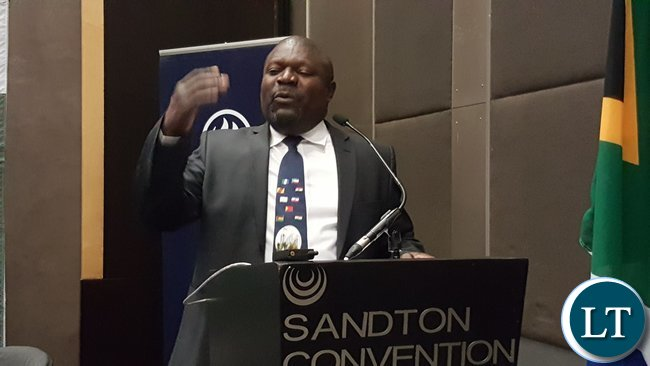 Lucky Mulusa speaking at the 'Invest in Zambia' business forum held at Sandton Convention Centre, in Johannesburg, South Africa on 3rd November, 2016