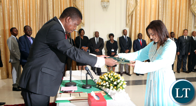 President Edgar Lungu at State House when he received letters of credence from the Ambassador of Kingdom of Morocco to Zambia Ms Saadiael Alaqoui in Lusaka on Tuesday 6th December 2016- Pictures By Eddie Mwanaleza/Statehouse.