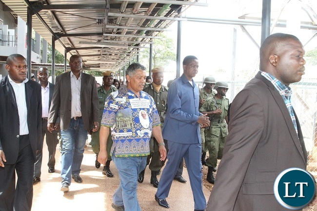 PRESIDENT Edgar Chagwa Lungu and Minister of Justice, Given Lubinda tours the Chilenje Hospital