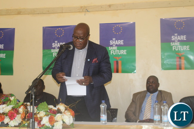 Southern Province Permanent Secretary Mr. Sibanze Simuchoba delivering his speech when he officially launched the of Re-aligning Agriculture and Water Sanitation and Health Hygiene(WASH) for Nutrition(RAGWA-NUT) project yesterday that has been co-funded by The European Union (EU) and World Vision at a total cost of Euros 1.1 Million yesterday. The project would run for 36 months from November 2016 to December 2019.