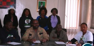 North- Western Patriotic Front (PF) executive committee has unanimously endorsed the candidatures of President Edgar Lungu for 2021 general elections. Above, PF provincial chairman Emmanuel Chihili (middle in glasses) flanked by the provincial Information and Publicity secretary Edwin Sekelechi (l) and provincial youth vice chairperson Jackson Kungo (r ) during the announcement in the minister's hall on Solwezi