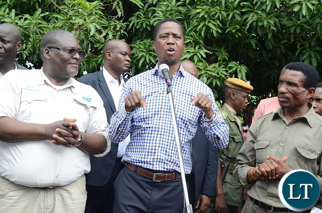President Lungu addresses Kanfinsa residents after inspecting the maize fields affected by army worms in Kanfinsa area in Kitwe on Thursday, January 5,2016-Pictures by THOMAS NSAMA