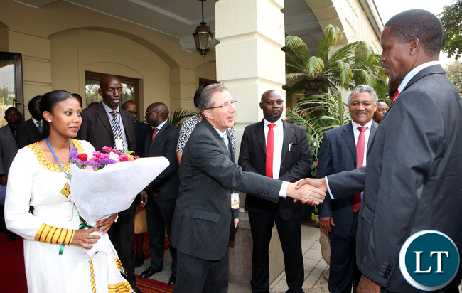 President Edgar Lungu being Welcomed by Mr Anthony Wade General Manger of Sheraton Addis