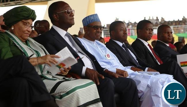 From (second right ) is President Edgar Lungu, Togolise President Faire Gnassingbe , Nigerian President Muhammadu Buhari , Ivorian President Alasain Wattara and Liberian President Johnson Sirleaf following the proceedings of the inauguration ceremony of President Nana Addo Kurfo at Black Star Stadium in Ghana yesterday .Picture by SUNDAY BWALYA