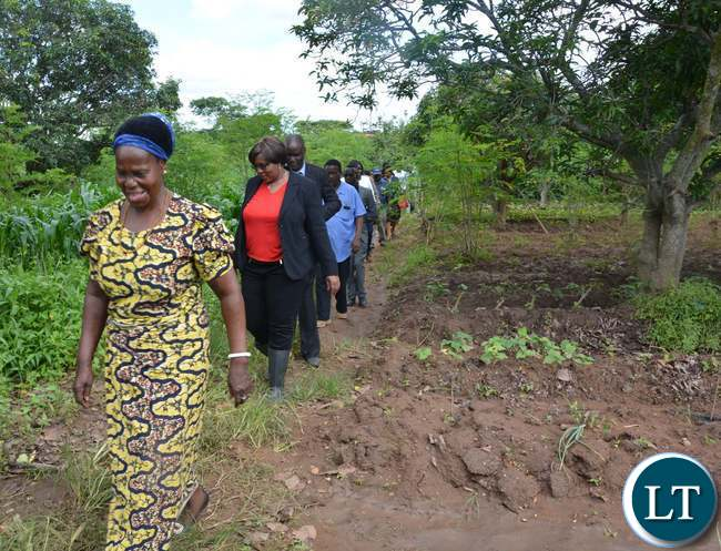 """Minister of Agriculture Dora Siliya and Melania Chipungu during the tour of Melania""""s Farm in Ibex Hill Extension"""