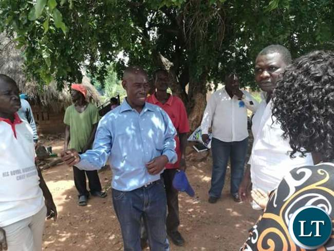 Vincent Nyangu the Luangwa District Chairperson receiving his National Secretary Raphael Nakacinda and his entourage during his to Feira, Luangwa District on Saturday.