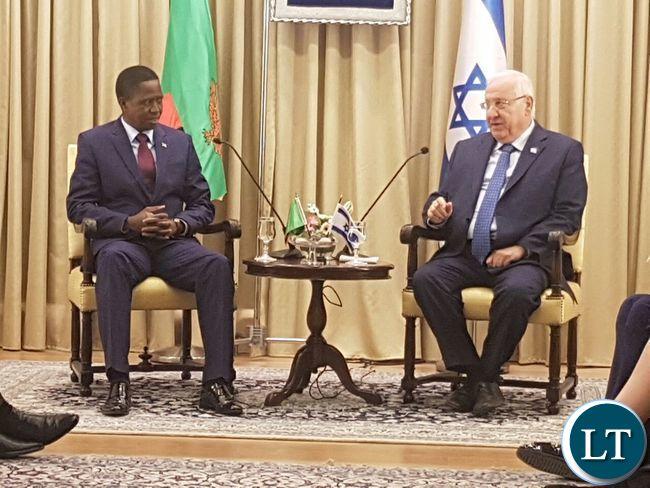 President Lungu with Israeli President Reuven Rivlin