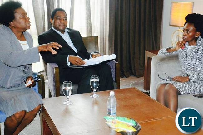 UPND National Chairperson Mutale Nalumango briefs visiting Commonwealth Deputy Secretary General-Political, Dr. Josephine Ojiambo as HH looks on