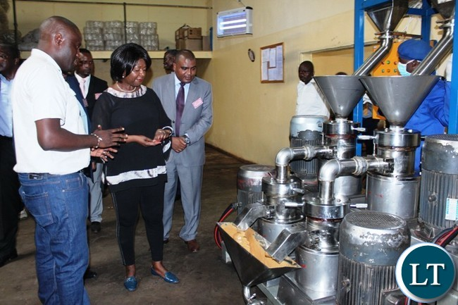 COMMUNITY Market for Conservation (COMACO) Manager, Smith Kapeya, explains to Commerce Minister, Margaret Mwanakatwe about the peanut butter processing machine. This was when the Minister toured the plant in Chipata on Thursday. PICTURE BY STEPHEN MUKOBEKO/ZANIS