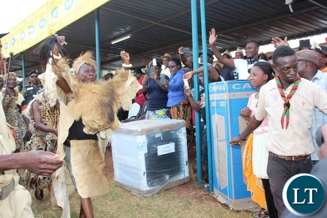 PARAMOUNT Chief Mpezeni greets people when he entered the main arena to signify the beginning of this year's Ncwala ceremony in Chipata on Saturday. PICTURE BY STEPHEN MUKOBEKO/ZANIS