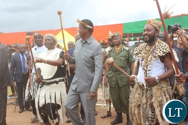 PRESIDENT Edgar Lungu, Zambian Ambassador to Australia, George Zulu ( l) and Paramount Chief Mbelwa of the Ngoni in Malawi dance Ngoma at this year's Ncwala ceremony in Chipata on Saturday. PICTURE BY STEPHEN MUKOBEKO/ZANIS