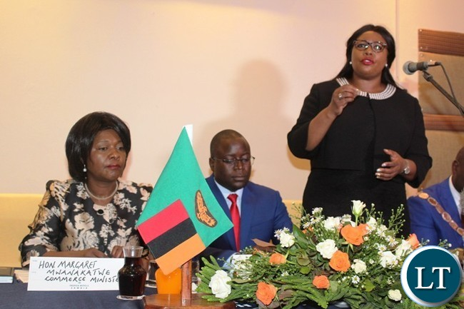 AGRICULTURE Minister, Dora Siliya, speaking at the first Eastern Province Symposium on development at Protea Hotel in Chipata on Thursday. On her right are Eastern Province Minister, Makebi Zulu and Commerce Minister, Margaret Mwanakatwe. PICTURE BY STEPHEN MUKOBEKO/ZANIS