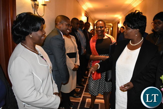 Zambia UN Mission diplomatic Staff welcoming the First Lady Mrs. Esther Lungu to New York on Saturday 11 March, 2017. The First Lady is in New York to participate in the 61st Session of the Commission on the Status of Women (CSW61). Photo | Chibaula D. Silwamba | Zambia UN Mission