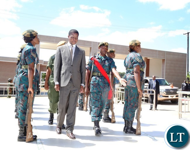 President Edgar Lungu inspecting the guard of honor mounted for him by the Zambia National Service (ZNS) during the Launch of the Construction of Zambia National Service (ZNS) Housing Units in Chamba Valley yesterday 30-03-2017 Picture by ROYD SIBAJENE/ZANIS