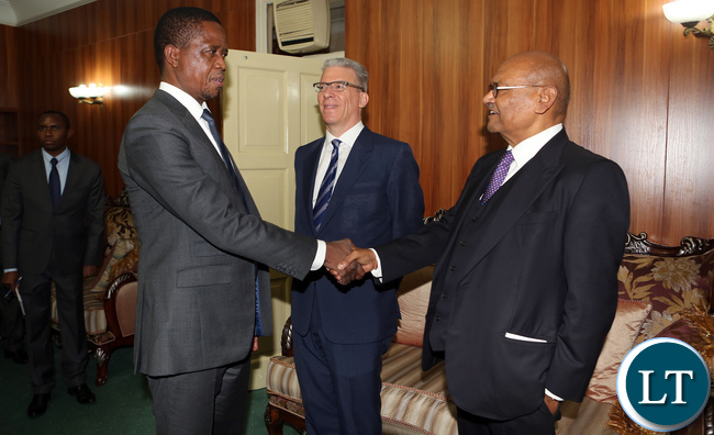 President Edgar Lungu welcomes Vedanta Resources PLC Chairman Anil Agarwal who paid a courtesy call on him at State House on Friday.
