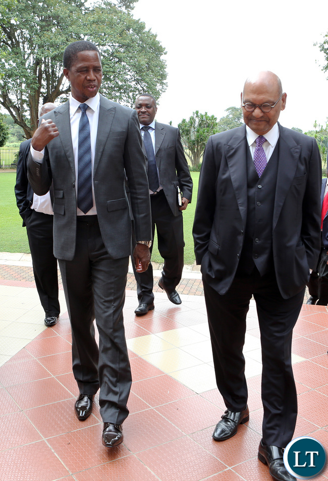 President Edgar Lungu (left) with Vedanta Resources PLC Chairman Anil Agarwal after a photo session at State House on Friday.
