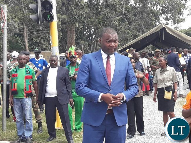 Copperbelt Minister Bowman Lusambo at the wreath laying ceremony at the Cenotaph during Youth Day celebrations