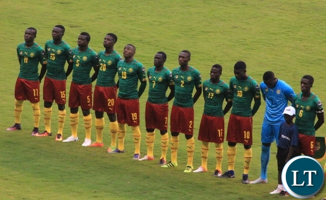 South Africa and Cameroon under-20 teams sing their National anthems at Ndola's Levy Mwanawasa stadium:Pictures by Frank Ching'ambu