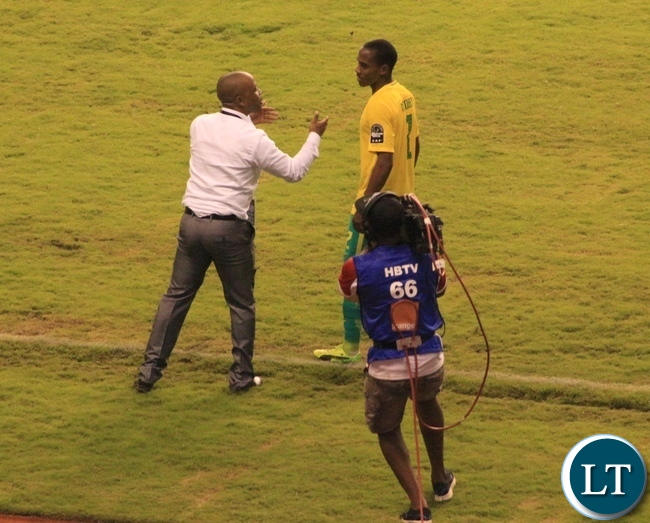 South African Under-20 CoachThabo Senong giving instructions to his player during a match against Cameroon on monday:Pictures by Frank Ching'ambu