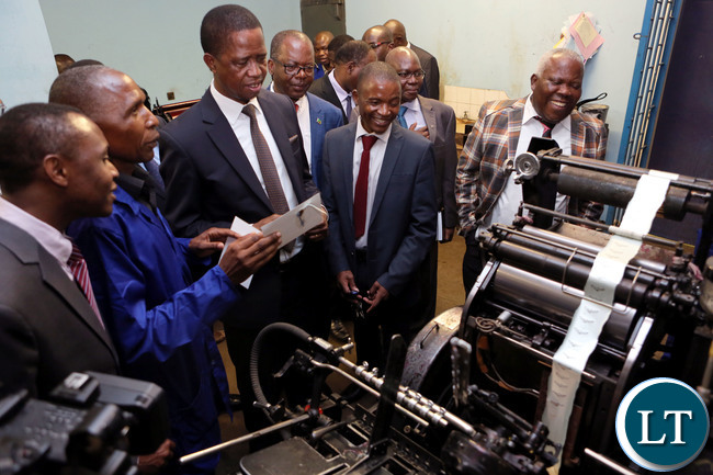 resident Edgar Lungu touring Government Printers in Lusaka