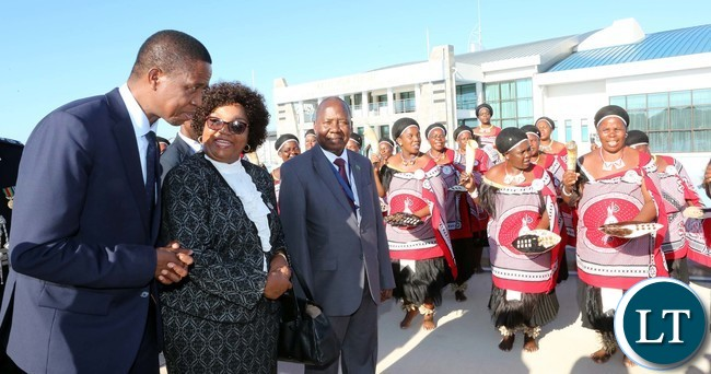 President Edgar Lungu with Senator Winnie Magaqula minister of Labour and Social Security in Swaziland Watch Traditional dancers