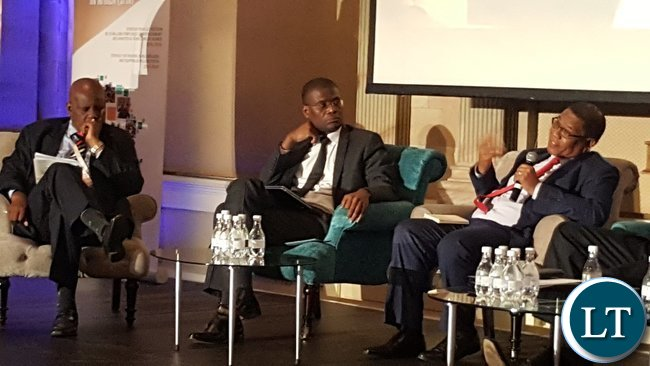 COMESA Secretary General, Mr. Sindiso Nwenya (r) speaking during a panel discussion at the Jobs for Youths in Africa regional ministerial conference in Pretoria on 27th February, 2017. Listening in are South Africa's Deputy Minister of Economic Development, Mr. Madala Masuku and Zimbabwe Minister of Finance, Mr. Patrick Chinamasa.