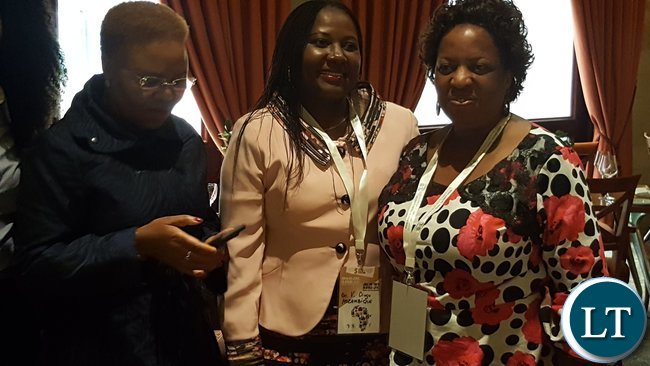 Labour and Social Security Minister, Mrs. Joyce Nonde-Simukoko (r) with Mozambican Minister of Labour, Employment & Social Security, Ms. Vitoria Diogo, and South Africa's Minister of Small Business Development, Ms. Lindiwe Zulu during a break at the Jobs for Youths in Africa (JFYA) regional ministerial conference in Pretoria on 27th February, 2017