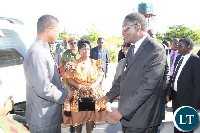 New Apostolic Church Area Apostle Ananyateli Muyunda welcomes President Edgar Lungu and the First Lady Esther Lungu shortly before Church Service in Mongu