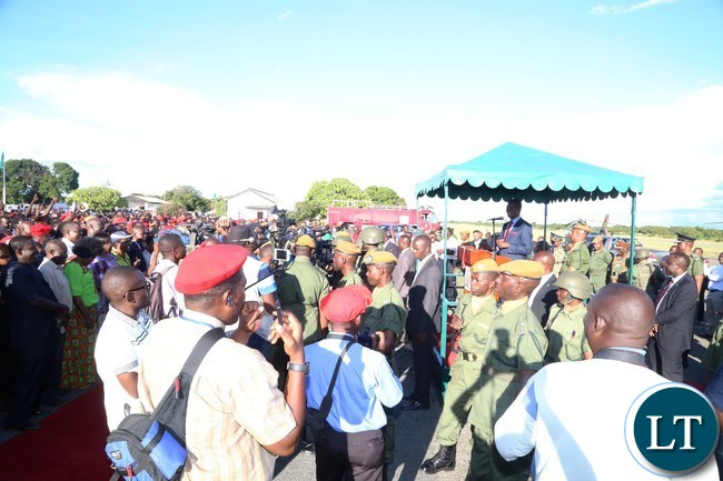 President Edgar Lungu in the dais addresses thousands of Mongu residents shortly after his arrival at Mongu airport