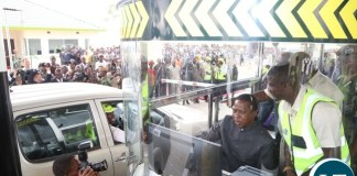 President Edgar Lungu inside the Katuba Toll Plaza booth at the Commissions of the Plaza in Katuba