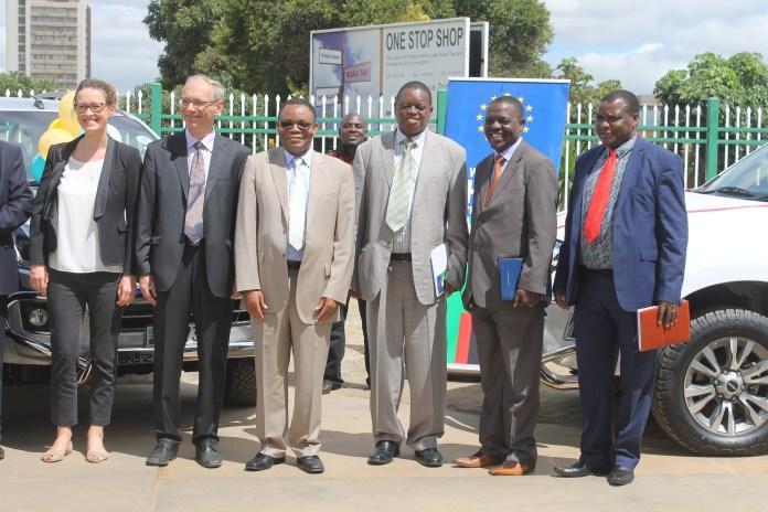 EU delegates, Mines PS Paul Chanda, Mines Director Mooya Lumamba, and far end GSD Director Chipilauka Mukofu
