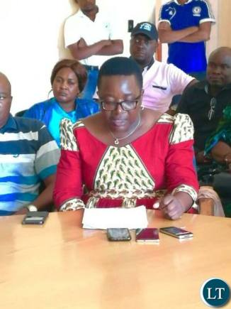 Hon. Brenda Tambatamba reading out a statement on behalf of the MPs
