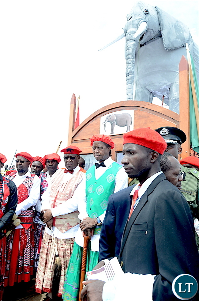 President Lungu with the Litunga during the Kuomboka traditional Ceremony in Mongu on Saturday,April 8,2017-Pictures by THOMAS NSAMA