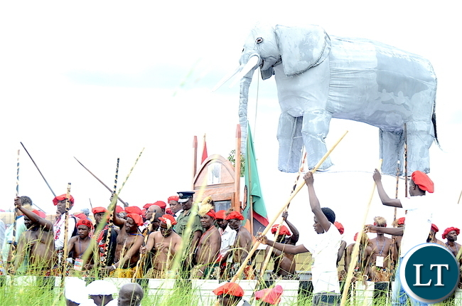 President Lungu during the Kuomboka traditional Ceremony in Mongu on Saturday,April 8,2017-Pictures by THOMAS NSAMAPresident Lungu during the Kuomboka traditional Ceremony in Mongu on Saturday,April 8,2017-Pictures by THOMAS NSAMA