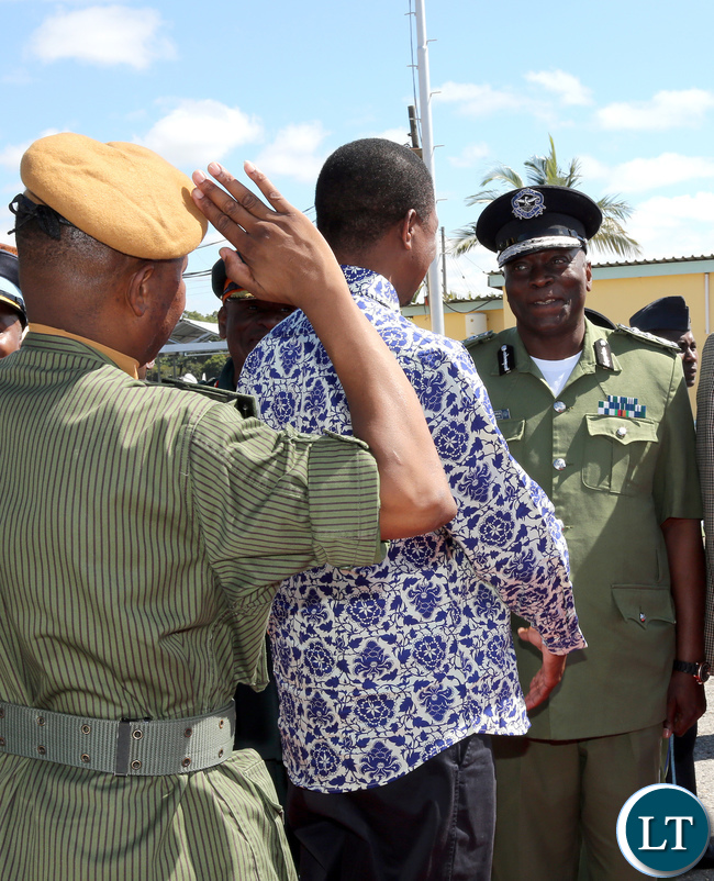 President Lungu Greets Inspector General of Police Mr Kanganja at City airport in Lusaka