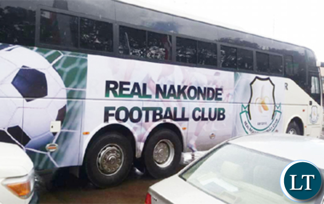 The bus donated to promotion side Real Nakonde by President Edgar Lungu.