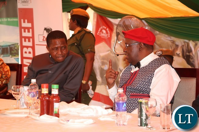 President Edgar Lungu and the Litunga Lubosi Imwiko ii share a light moment during the launchon to President at Limulunga Royal Palace