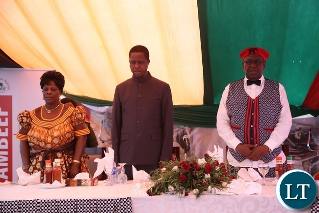 The Litunga Lubosi Imwiko ii (r)  President Edgar Lungu and the First Lady Esther Lungu during the launchon for President at Limulunga Royal Palace