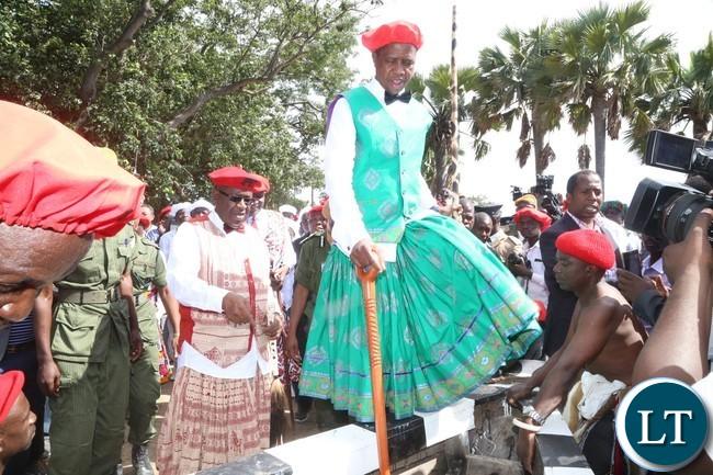 President Edgar Lungu boards the Nalikwanda with His Majesty King Lubosi Imwiko ii of the Lozi people at Lealui Palace heading to Limulunga
