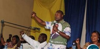 Frank Bwalya addressing the defectors who re-joined the party
