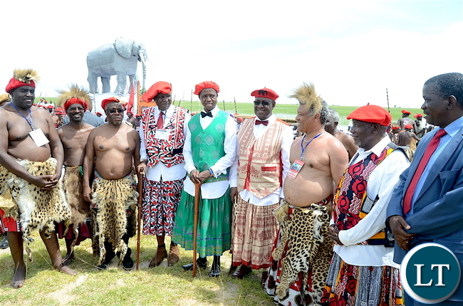 President Lungu with the Litunga, Finance Minister Felix Mutati and Justice Minister Given Lubinda  during the Kuomboka traditional Ceremony in Mongu on Saturday,April 8,2017-Pictures by THOMAS NSAMA