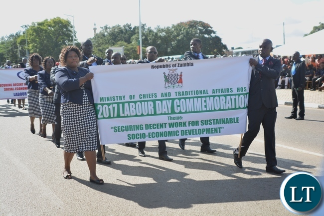 Ministry of Chiefs and Traditional Affairs matches matching during the Labour Day Celebration in Lusaka yesterday,01052017.Picture by Ennie Kishiki/Zanis.