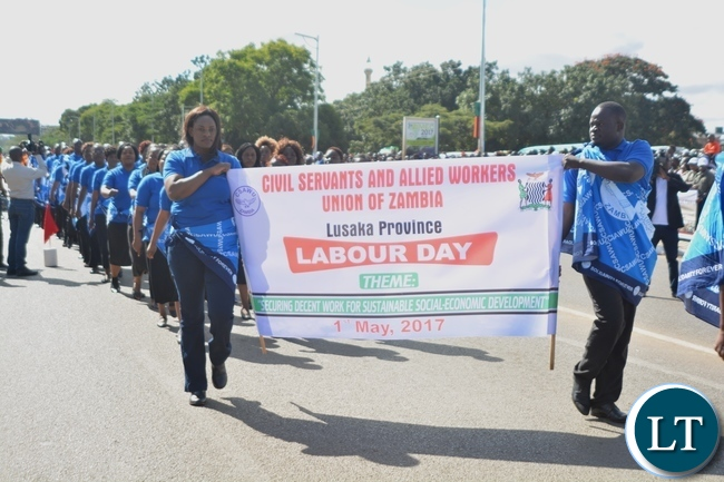 Civil Servants and Allied Eorkers Union of Zambia Staffs matching during the Labour Day Celebration in Lusaka yesterday,01052017.Picture by Ennie Kishiki/Zanis.