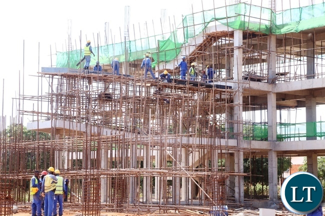 A Hotel under construction at Kenneth Kaunda International Airport has reached advanced stage at 10% and the construction is done by China Jianxi