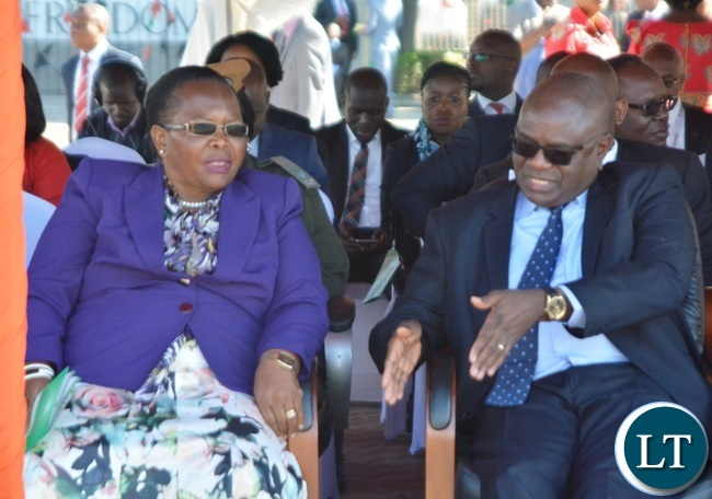 Chief Justice Ireen Mambilima(l) chats with Speaker of the National Assembly Patrick Matibini(r) during the Labour Day Celebration in Lusaka yesterday,01052017.Picture by Ennie Kishiki/Zanis.