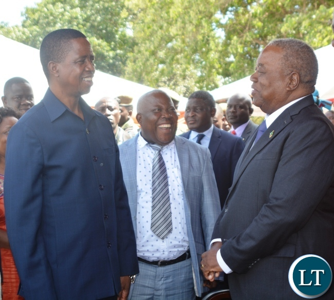 President Edgar Lungu(l),Fourth Republican President Rupiya Banda(r) and Presidential Affairs Minister Freedom Sikazwe(c) during the Labour Day Celebration in Lusaka yesterday,01052017.Picture by Ennie Kishiki/Zanis.